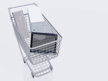 Desktop computer in shopping cart Stock Photo - 14231400