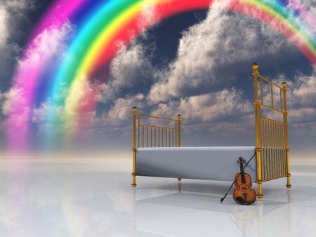 Bed met viool en regenboog in surrealistische scène Stockfoto