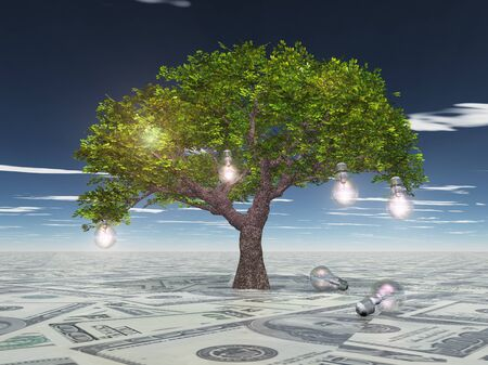 new solution: Tree with light bulbs grows out of US currency surface Stock Photo