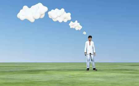 Man with 3D white thought clouds photo