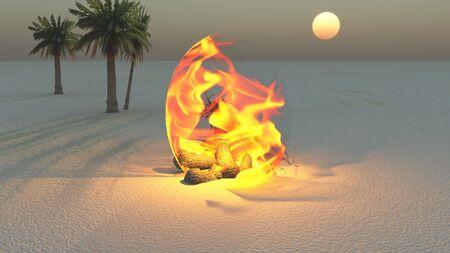 Fire burning in desert Sands photo
