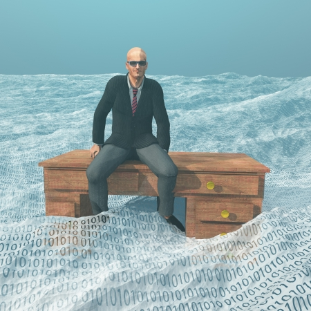 a big ship: Businessman on desk afloat on binary ocean Stock Photo
