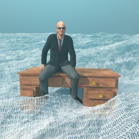 datos personales: Hombre de negocios en el escritorio a flote en el océano binario