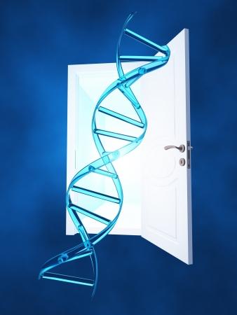 DNA strand and open doorway photo