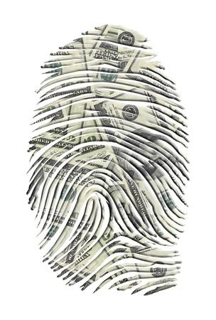 米ドル フィンガー プリント 写真素材