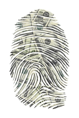 identity theft: US Dollars FInger Print