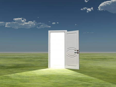 Single door emits light in empty landscape