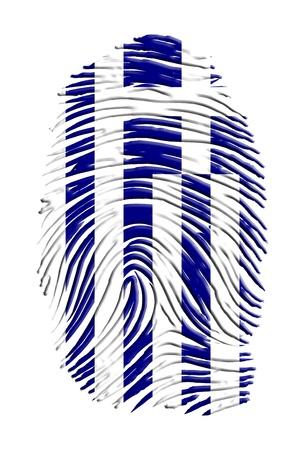 Greece flag on finger print photo