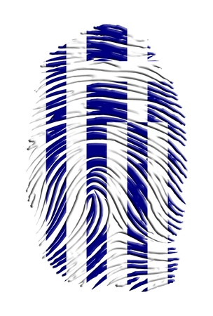greece: Greece flag on finger print