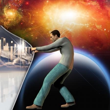 kopf: Man streckt Raum-Zeit an die Macht zeigen unter