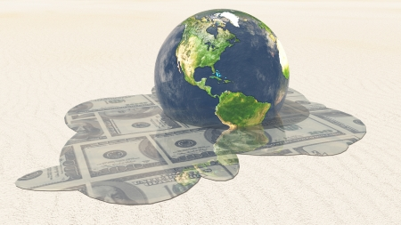 worthless: Earth melts revealing dollars Elements in this image furnished by NASA Stock Photo