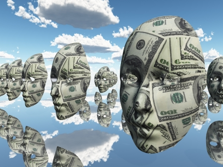 Symbolic floating faces with sureface of USA Currency photo