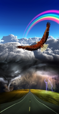 Roan into storm  with calm above Stock Photo - 14299873
