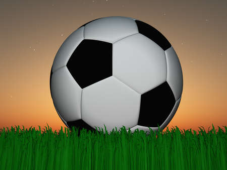 Sunset or sunrise Soccer Ball on Grass photo
