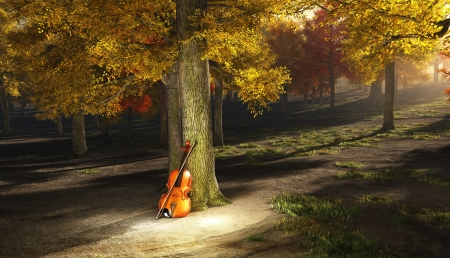Violin in autumn park