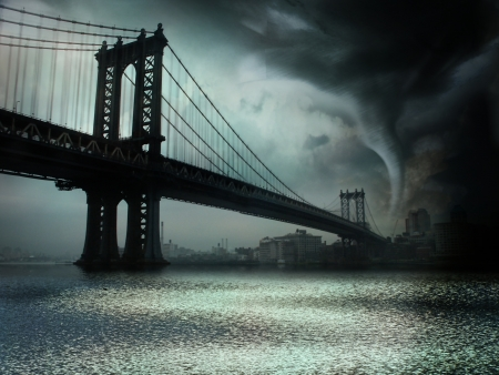 severe weather: Tornado NYC Illustration Stock Photo