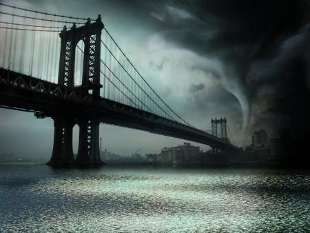 tornado wind: Tornado NYC Illustration Stock Photo