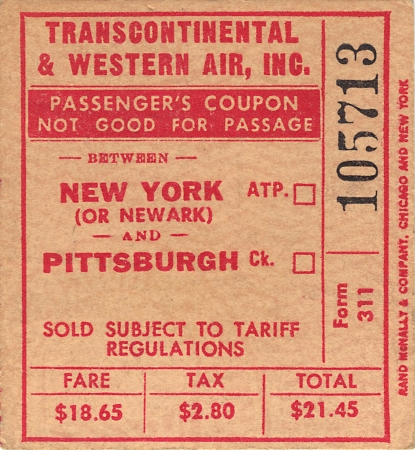 Transcontinental and Western Air New York to Pittsburgh USA Circa 1950 Editorial