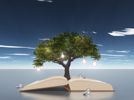 brain mysteries: Open book with light bulb tree Stock Photo