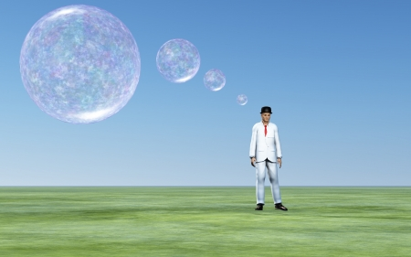 Man with transparent thought bubbles