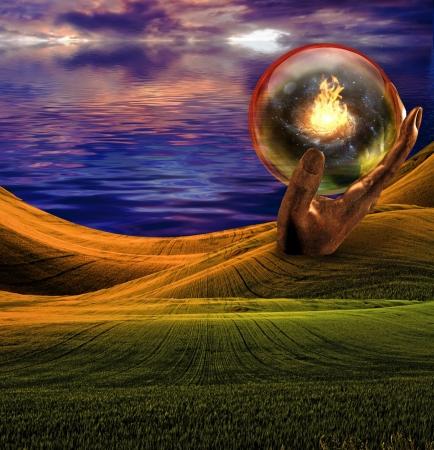Surrealistisch landschap met reusachtige beelden en brand Stockfoto