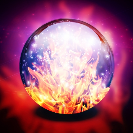 psychic: Fire in diviners sphere Stock Photo
