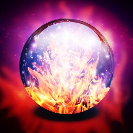 Fuego en la esfera adivinos Foto de archivo - 14480947