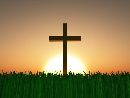 resurrección: Puesta de sol o un amanecer con la cruz