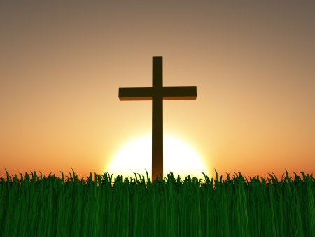 resurrected: Sunset or sunrise with cross Stock Photo