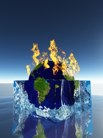 meltdown: Earth inside ice cube being consumed by fire Stock Photo