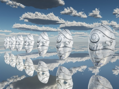 Surreal white faces float about reflecting sureface photo