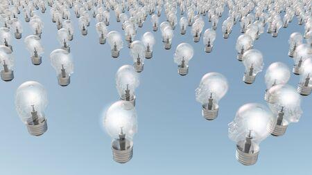 Group of glowing  human head lightbulbs photo