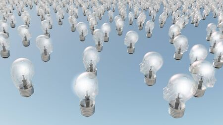 health answers: Group of glowing  human head lightbulbs Stock Photo
