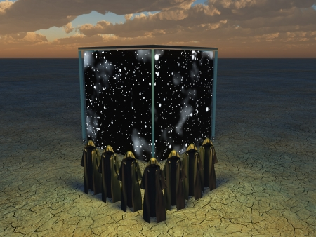 Cloaked figures before cube of space Stock Photo - 14480958