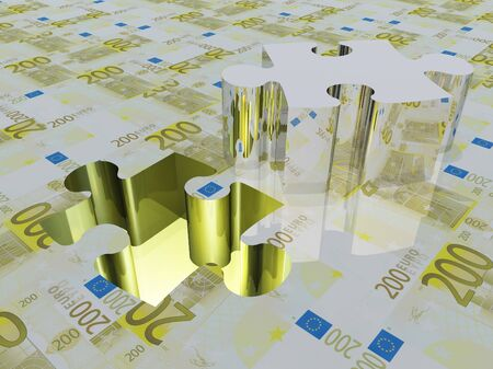 Puzzle piece Euro Stock Photo - 14480953