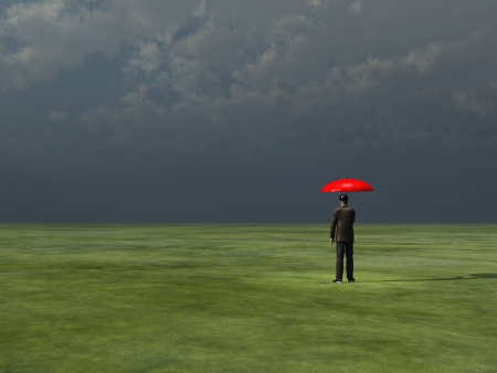 man standing alone: Man with red umbrella under gathering storm Stock Photo