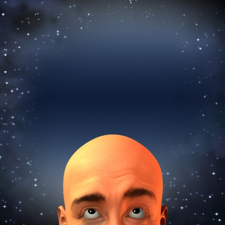 man looking up: Man looking up at sky Stock Photo