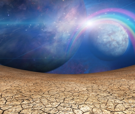 barren: Planets and cracked earth Stock Photo