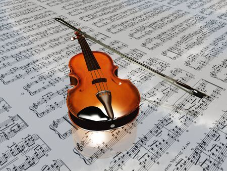 Violin on sheet music backdrop with clouds reflecting