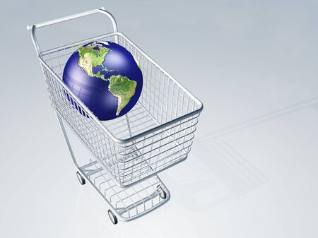 shopping buggy: Shopping cart holds earth Stock Photo