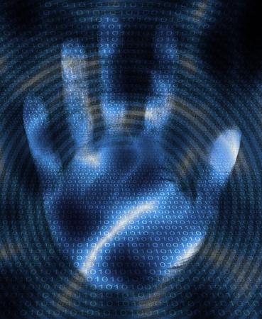 Hand and binary code design Stok Fotoğraf