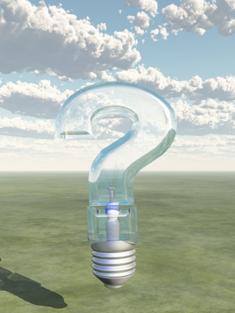 questioner: Question Shaped Light Bulb Stock Photo