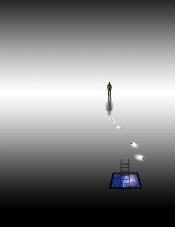 人間の背後にある冥想的な空間での概念を葉します。