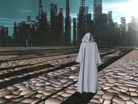 Traveler before the destroyed city