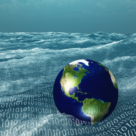 programming code: Earth floats in vast sea of binary code Stock Photo