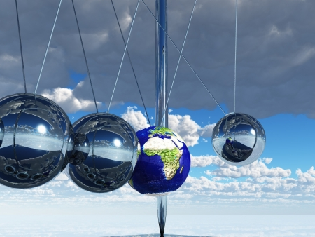 cradle: Newtons Cradle Earth Stock Photo