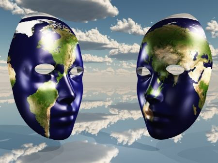 Two halves of earth on faces photo