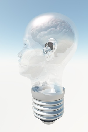 Light bulb in form of human head with human brain photo