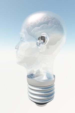 eureka: Light bulb in form of human head with human brain Stock Photo