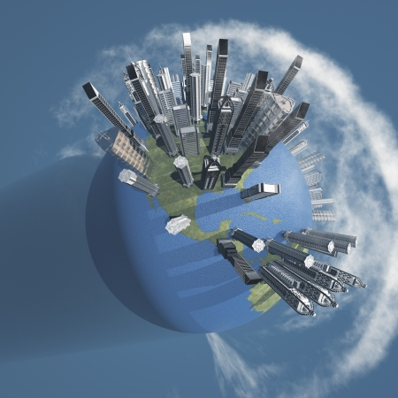 City Earth with Clouds Stock Photo - 14671990